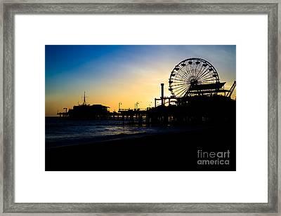 Southern California Santa Monica Pier Sunset Framed Print by Paul Velgos