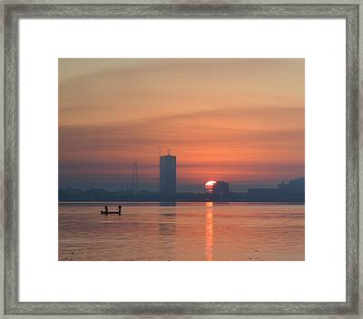 Southern City Sunrise Framed Print by Eileen Corbel