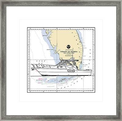 Yacht On A Key West Chart Framed Print