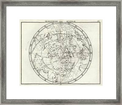 Southern Hemisphere Star Chart Framed Print