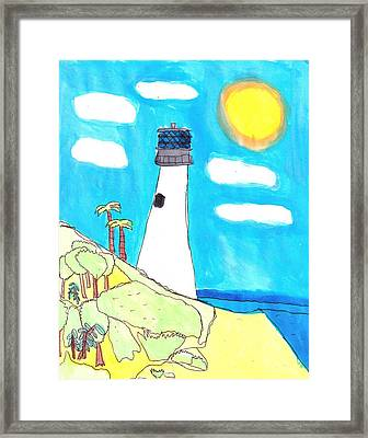 Southern Lighthouse Framed Print by Artists With Autism Inc
