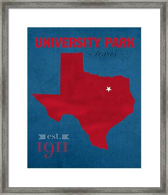 Southern Methodist University Mustangs Dallas Texas College Town State Map Poster Series No 098 Framed Print
