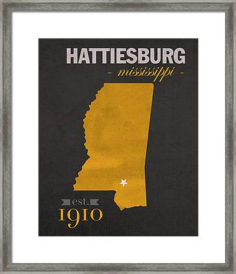 Southern Mississippi Golden Eagles Hattiesburg College Town State Map Poster Series No 099 Framed Print by Design Turnpike