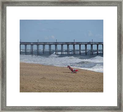 Southern Shores Pier And Chair Framed Print by Cathy Lindsey