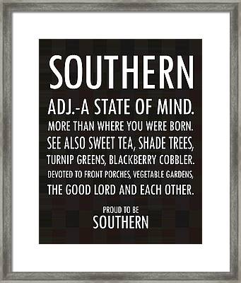 Southern State Of Mind Black And White Framed Print