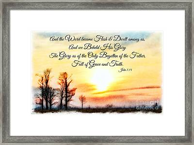 Southern Sunset - Digital Paint II With Verse Framed Print by Debbie Portwood