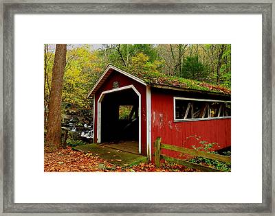 Southford Falls Covered Bridge And Waterfall Framed Print by Stephen Melcher