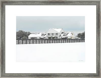 Framed Print featuring the photograph Snow Covered Southfork Ranch   by Dyle   Warren