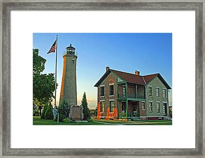 Framed Print featuring the photograph Southport Lighthouse On Simmons Island by Kay Novy