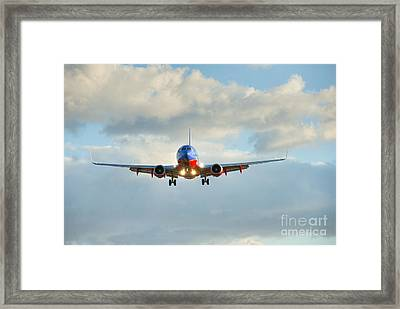 Southwest Airline Landing Gear Down Framed Print