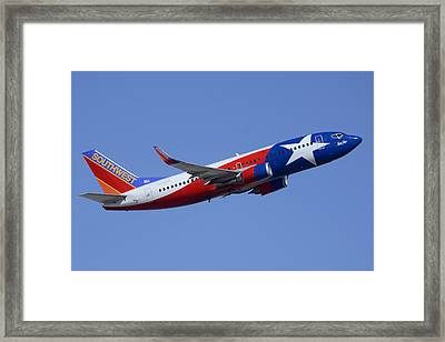Southwest Boeing 737-3h4 N352sw Lone Star One Taking Off Phoenix Sky Harbor March 6 2015  Framed Print by Brian Lockett