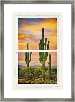 Southwest Desert Sunset White Rustic Distressed Window Art Framed Print