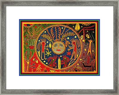 Southwest Huichol Del Sol Framed Print by Vagabond Folk Art - Virginia Vivier