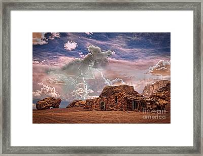 Southwest Navajo Rock House And Lightning Strikes Hdr Framed Print