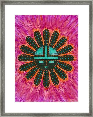 Framed Print featuring the painting Southwest Sunburst Sunface by Susie Weber