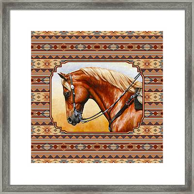 Southwestern Quarter Horse Pillow Framed Print by Crista Forest