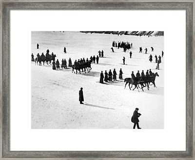 Soviet Soldiers Skijoring Framed Print by Underwood Archives