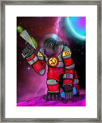 Soviet Space Chimp Framed Print by Oliver Matuskey