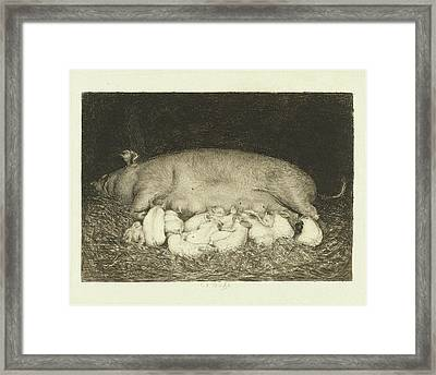 Sow With Piglets Lying In Stable, Carel Lodewijk Dake Framed Print by Quint Lox