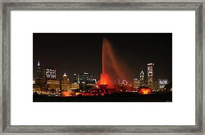 Sox Win Skyline Framed Print by Patrick  Warneka
