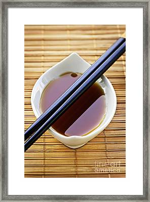 Soy Sauce With Chopsticks Framed Print
