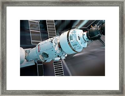 Soyuz And Mir Space Station Framed Print