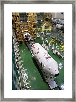 Soyuz Rocket Preparation Framed Print by Nasa/victor Zelentsov