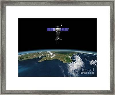 Soyuz Spacecraft In Earth Orbit, Artwork Framed Print