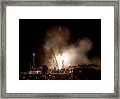 Soyuz Tma-09m Launch Framed Print