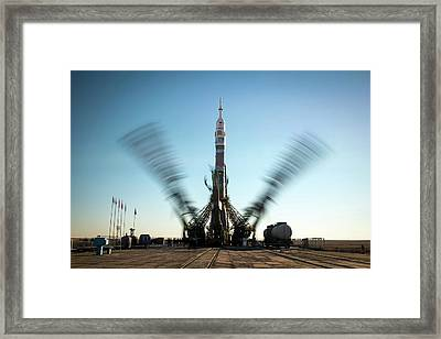 Soyuz Tma-11m Launch Pad Framed Print by Nasa/bill Ingalls