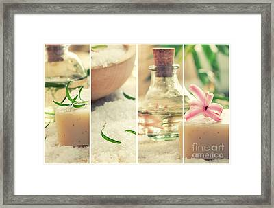 Spa Collage With Bath Salt And Flower Framed Print by Mythja  Photography