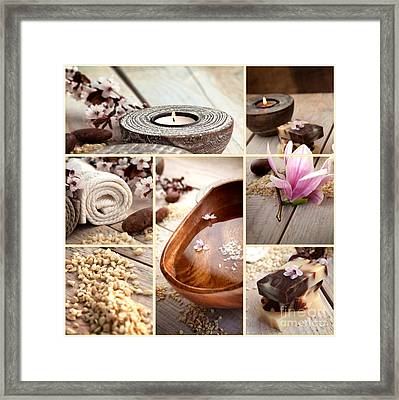 Spa Collage With Magnolia Flower Framed Print by Mythja  Photography