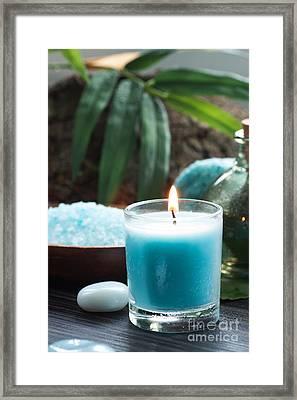 Spa Setting With Bath Salt And Candles Framed Print by Mythja  Photography