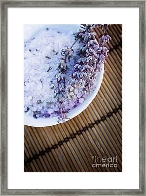 Spa Setting With Lavender Bath Salt Framed Print by Mythja  Photography