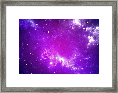Space Background With Purple Nebula And Stars Framed Print by Peter Jurik