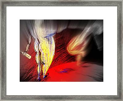 Standing On The Space Ball Holding Your Hand  Framed Print by Hilde Widerberg
