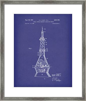 Space Capsule 1961 Patent Art Mercury Blue Framed Print by Prior Art Design