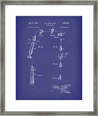 Space Capsule 1963 Patent Art Blue Framed Print by Prior Art Design