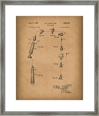 Space Capsule 1963 Patent Art Brown Framed Print by Prior Art Design