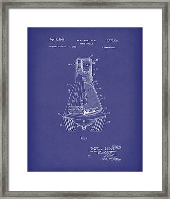 Space Capsule 1966 Mercury Patent Art  Blue Framed Print by Prior Art Design