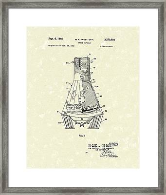 Space Capsule 1966 Patent Art  Framed Print by Prior Art Design