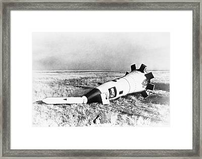Space Capsule After Landing With Dog Framed Print by Science Photo Library