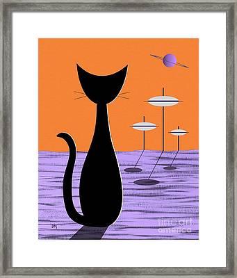 Space Cat Orange Sky Framed Print
