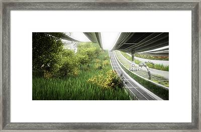 Framed Print featuring the digital art Space Colony Farm by Bryan Versteeg