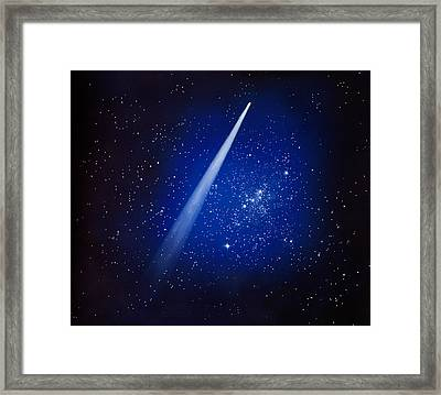 Space, Comet And Stars Framed Print by Panoramic Images
