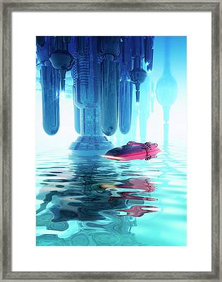 Space Craft And Futuristic City Framed Print