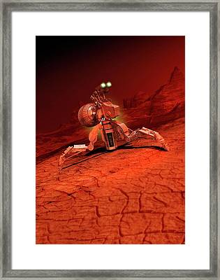 Space Craft Landing On A Red Planet Framed Print by Victor Habbick Visions