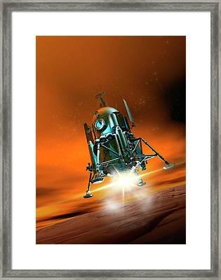 Space Craft Landing On Planet Mars Framed Print
