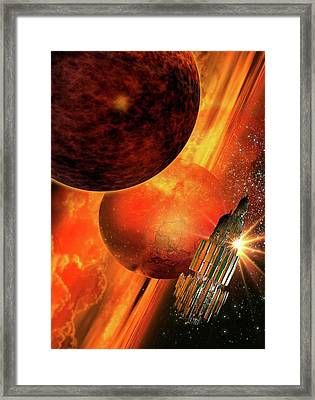 Space Craft Orbiting A Planet Framed Print by Victor Habbick Visions