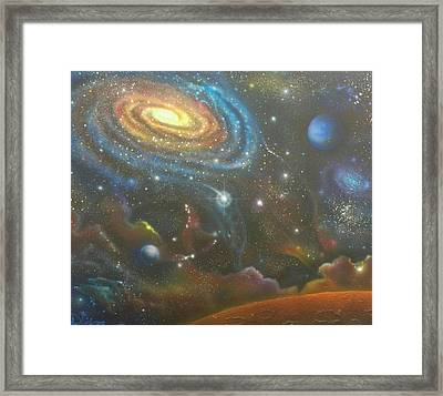 Space Dolphins Framed Print
